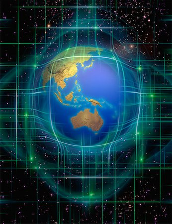 Globe and Grid in Space Pacific Rim Stock Photo - Rights-Managed, Code: 700-00066579