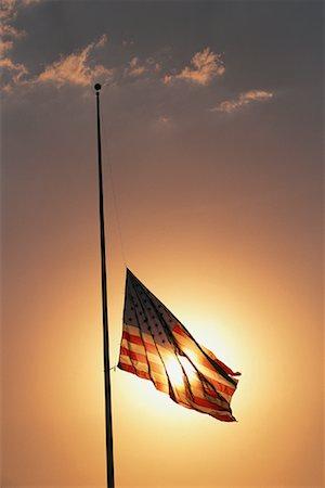 flag at half mast - American Flag at Half Mast at Sunset Stock Photo - Rights-Managed, Code: 700-00067518