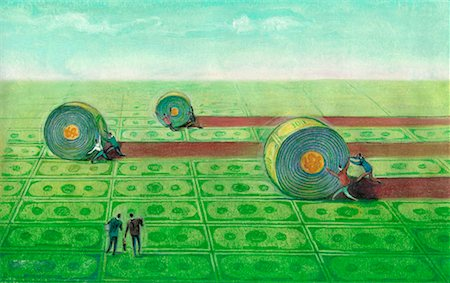 Illustration of People Rolling Money on Ground Stock Photo - Rights-Managed, Code: 700-00067630
