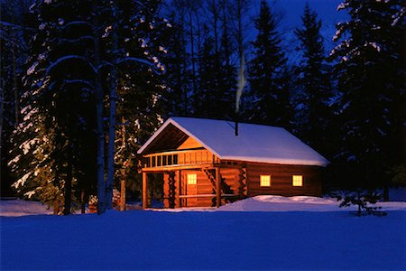Snow Covered Cabin in Winter at Night Stock Photo - Rights-Managed, Code: 700-00061027
