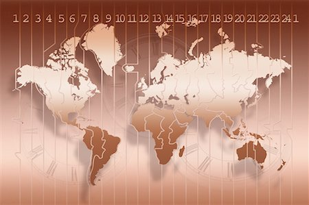 World Map and Time Zones with Three Clocks Stock Photo - Rights-Managed, Code: 700-00062320