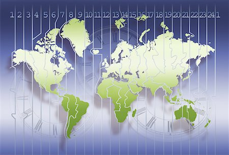 World Map and Time Zones with Three Clocks Stock Photo - Rights-Managed, Code: 700-00062321
