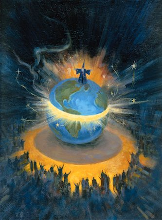 Illustration of Wizard Standing On Globe Performing Magic in Front of Audience Stock Photo - Rights-Managed, Code: 700-00062968