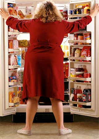 Back View of Woman Looking in Fridge Stock Photo - Rights-Managed, Code: 700-00075348