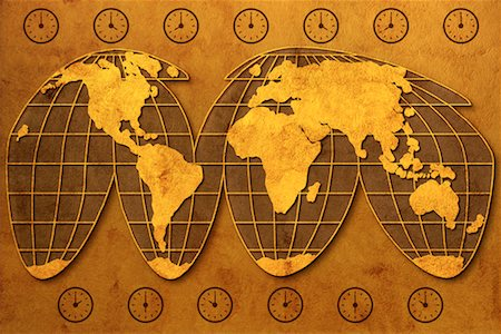 World Map and Clocks Stock Photo - Rights-Managed, Code: 700-00077269