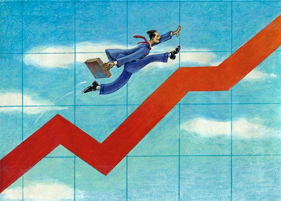 Illustration of Businessman Running Up Line Graph Stock Photo - Premium Rights-Managed, Artist: Wei Yan, Image code: 700-00071675