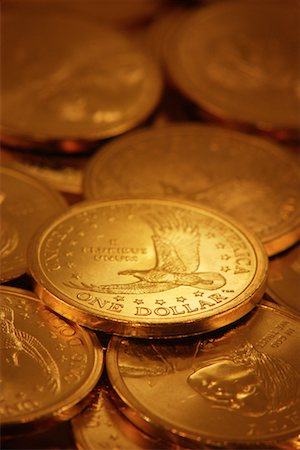 Pile of American One Dollar Coins Stock Photo - Rights-Managed, Code: 700-00073105