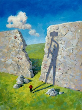 Illustration of Man Standing near Broken Wall with Shadow of Figure Holding Sledgehammer Stock Photo - Rights-Managed, Code: 700-00073589