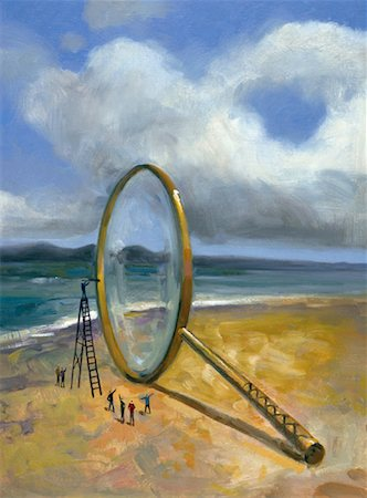 Illustration of People on Beach Looking at Giant Magnifying Glass Stock Photo - Rights-Managed, Code: 700-00073590