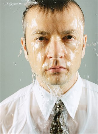 sweaty businessman - Portrait of Businessman with Water Being Poured over Head Stock Photo - Rights-Managed, Code: 700-00084416