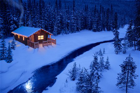 Log Cabin by Stream in Winter At Dusk Stock Photo - Rights-Managed, Code: 700-00086538