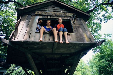 preteen girl feet - Children in Tree House Stock Photo - Rights-Managed, Code: 700-00088816