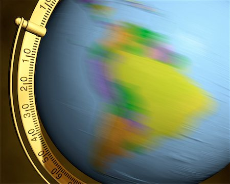 Blurred View of Globe Spinning On Stand South America Stock Photo - Rights-Managed, Code: 700-00080717