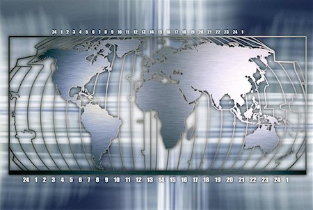 World Map and Time Zones Stock Photo - Rights-Managed, Code: 700-00083133