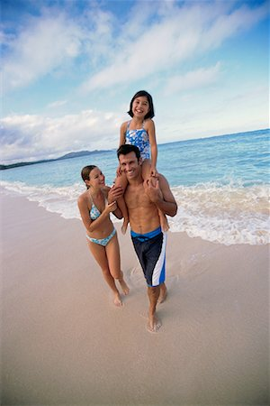 peter griffith - Family in Swimwear on Beach, with Daughter on Father's Shoulders Stock Photo - Rights-Managed, Code: 700-00083434