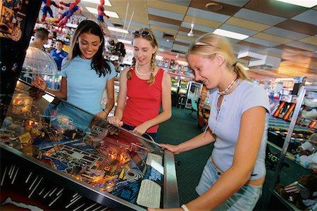 pinball - Teenagers at Arcade Stock Photo - Rights-Managed, Code: 700-00090490
