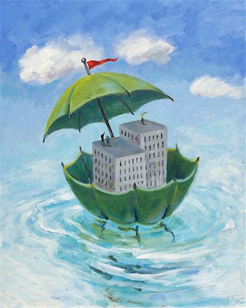 Office Towers Floating in Umbrella Stock Photo - Rights-Managed, Code: 700-00090806