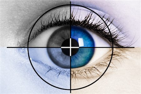 scope - Close-Up of Eyeball in Colour Quadrants Stock Photo - Rights-Managed, Code: 700-00158236