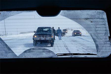Car Accident in Winter as Seen Through Rear View Window Stock Photo - Rights-Managed, Code: 700-00158364
