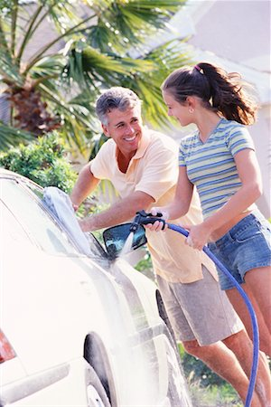 Father and Daughter Washing Car Stock Photo - Rights-Managed, Code: 700-00168086
