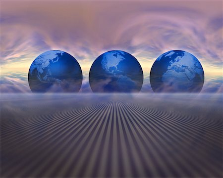 Three Globes in Abstract Landscape Stock Photo - Rights-Managed, Code: 700-00161009
