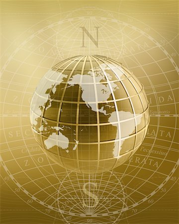 Globe with Grid Displaying North America, South America, Asia and Australia Stock Photo - Rights-Managed, Code: 700-00177865