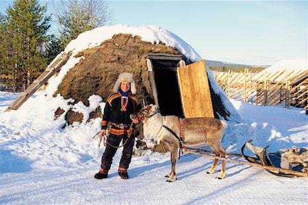 Laplander with Reindeer Lapland, Sweden Stock Photo - Rights-Managed, Code: 700-00186708