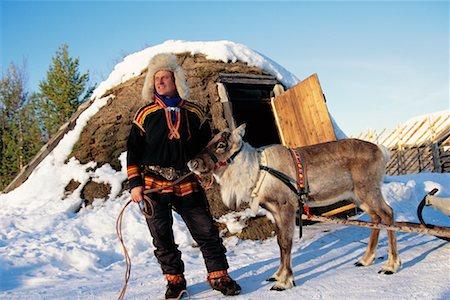 Laplander with Reindeer Lapland, Sweden Stock Photo - Rights-Managed, Code: 700-00186709