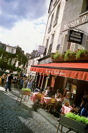 People at Outdoor Cafe Montmartre, Paris, France Stock Photo - Rights-Managed, Code: 700-00196192