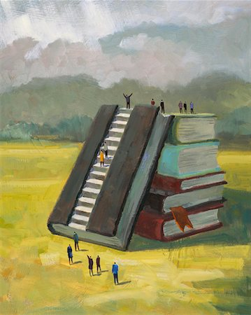 People Climbing Stack of Books Stock Photo - Rights-Managed, Code: 700-00198289