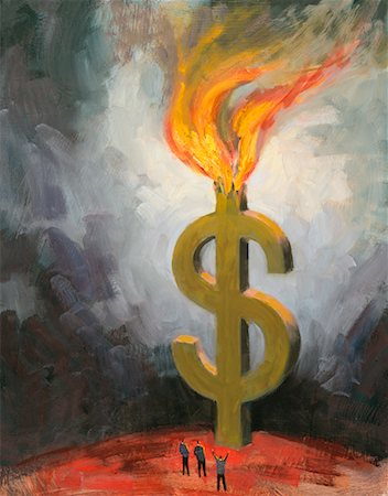 Burning Dollar Sign Stock Photo - Rights-Managed, Code: 700-00198290
