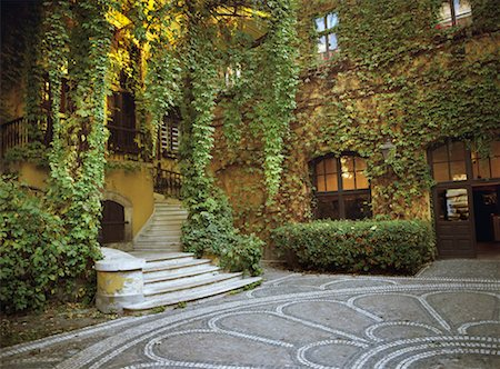 Vines and Mosaic in Courtyard Budapest, Hungary Stock Photo - Rights-Managed, Code: 700-00198693