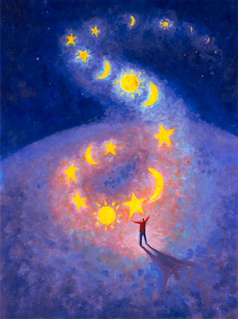 Illustration of Row of Moons, Stars and Suns Floating Above Man Stock Photo - Rights-Managed, Code: 700-00199936