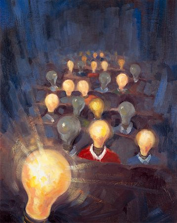 Illustration of People with Lightbulb Heads Stock Photo - Rights-Managed, Code: 700-00199942