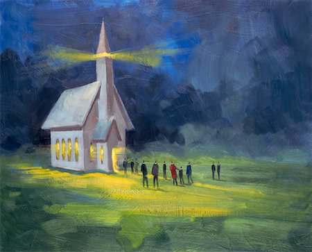 Illustration of People Leaving Church Stock Photo - Rights-Managed, Code: 700-00199943