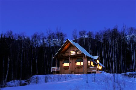 Cabin in Winter at Night Stock Photo - Rights-Managed, Code: 700-00193940