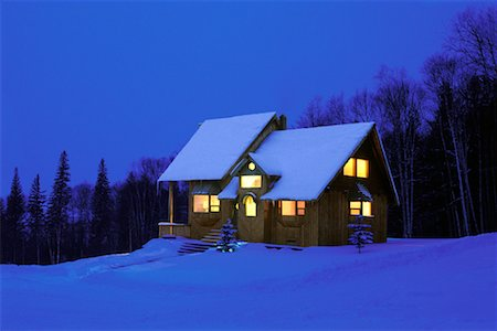 Cabin in Winter at Night Stock Photo - Rights-Managed, Code: 700-00193941