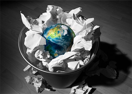 Globe in Trash Can Stock Photo - Rights-Managed, Code: 700-00285453