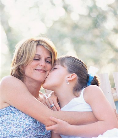 daughter kissing mother - Mother and Daughter Outdoors Stock Photo - Rights-Managed, Code: 700-00318369