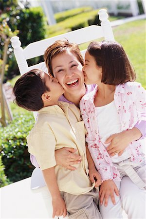 daughter kissing mother - Mother and Children Stock Photo - Rights-Managed, Code: 700-00342123