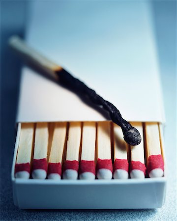 Burnt Match and Box of Wooden Matches Stock Photo - Rights-Managed, Code: 700-00357245