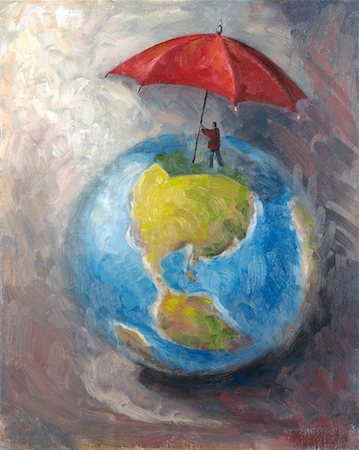 Illustration of Man Protecting World with Umbrella Stock Photo - Rights-Managed, Code: 700-00357725