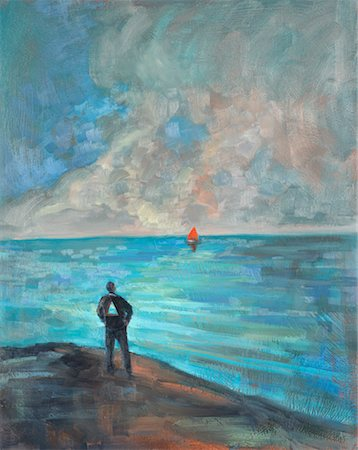 Illustration of Man Standing at Shoreline, Watching Sail Boat Stock Photo - Rights-Managed, Code: 700-00357729