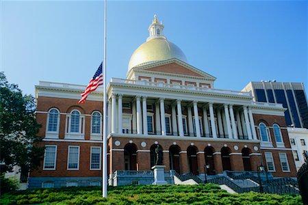 flag at half mast - The State House, Boston, Massachusetts, USA Stock Photo - Rights-Managed, Code: 700-00368108