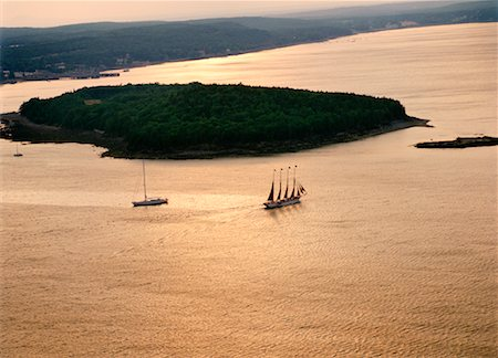 david zimmerman - Aerial View of Sailboats, Arcadia National Park, Maine, USA Stock Photo - Rights-Managed, Code: 700-00372072