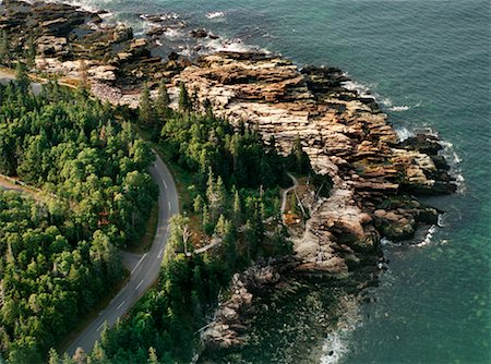 david zimmerman - Road and Coastline Acadia National Park Maine, USA Stock Photo - Rights-Managed, Code: 700-00404055