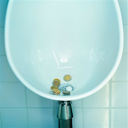 Coins in Urinal Stock Photo - Rights-Managed, Code: 700-00424016
