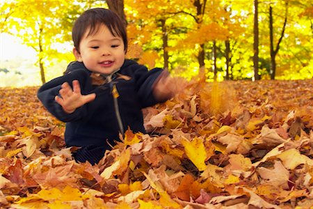pile leaves playing - Baby Playing in Leaves Stock Photo - Rights-Managed, Code: 700-00425826