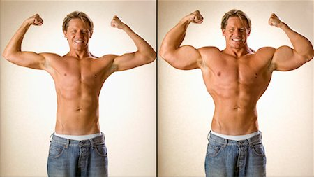 skinny man muscle pose - Before and After Shot of Muscle Man Stock Photo - Rights-Managed, Code: 700-00476624