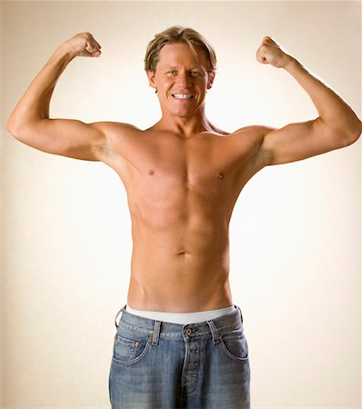 skinny man muscle pose - Shirtless Man Posing Stock Photo - Rights-Managed, Code: 700-00476627